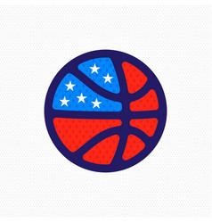 basketball american flag logo vector image