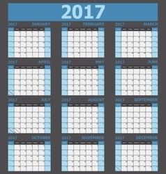 Calendar 2017 week starts on Sunday blue tone vector