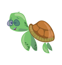 cartoon sea turtle in glasses sweet turtle baby vector image