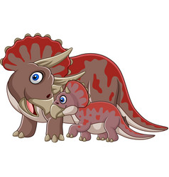 cartoon triceratops with her baby vector image