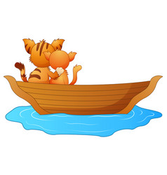 cartoon two cats in a boat vector image