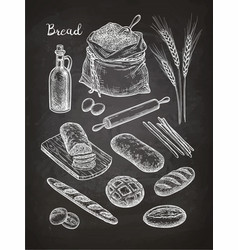 Chalk sketch of breads vector