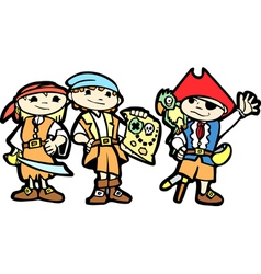 Children in Pirate Costumes vector image