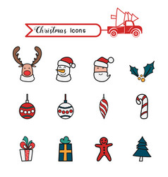 christmas line art color icons set christmas vector image