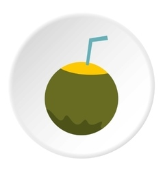 Coconut cocktail icon flat style vector