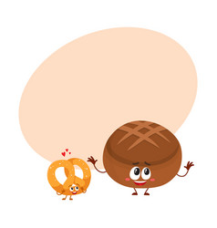 couple of smiling german pretzel and brown bread vector image
