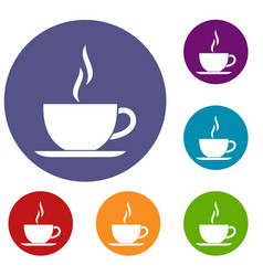 Cup of hot drink icons set vector