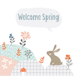 Cute easter web banner with white rabbit flowers vector