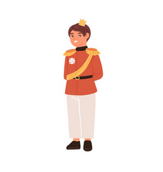 Cute fairytale prince with golden crown isolated vector