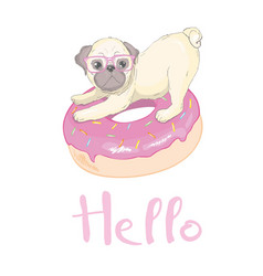 Cute pug dog flat character with red tongue and vector
