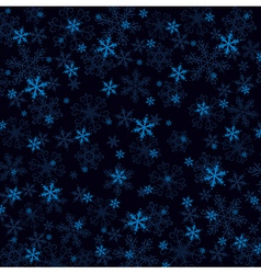 Dark blue christmas background with many snowflake vector image