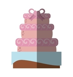 Delicious cake ribbon wedding dessert with shadow vector