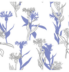 Drawing seamless pattern with flowers vector