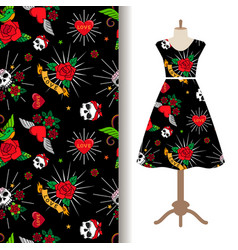 Dress fabric pattern with funny tattoo vector