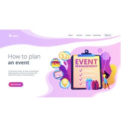 Event management concept landing page vector