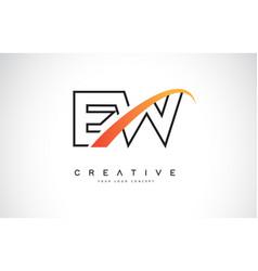 Ew e w swoosh letter logo design with modern vector