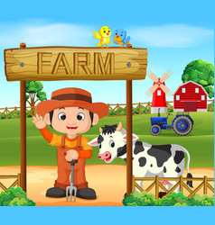 farm scenes with many animals and farmers vector image