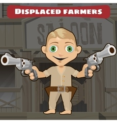 Fictional cartoon character - displaced farmers vector image
