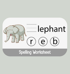 Find missing letter with elephant vector