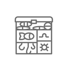 Fishing tackle box hooks baits line icon vector