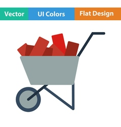 Flat design icon of construction cart vector