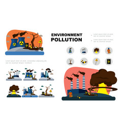 Flat environment pollution elements set vector