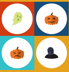 flat icon celebrate set of tomb phantom pumpkin vector image