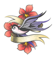 flying swallow with golden ribbon and flowers vector image