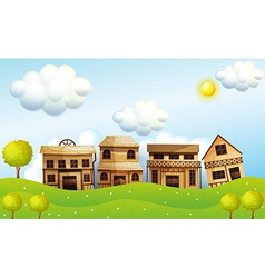 Four different kinds wooden house vector
