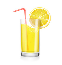 glass of lemon juice with fruit and drinking straw vector image