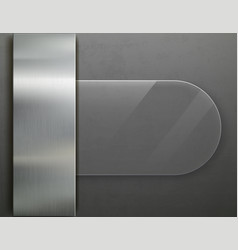 glass transparent plate on metal background vector image
