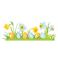 Grass and flowers with decorative eggs vector