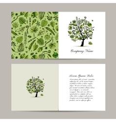 Greeting card with tropical tree design vector