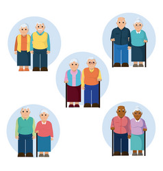 Group of the elderly vector