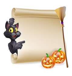 Halloween scroll sign vector