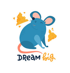 Hand drawn cute mouse with cheese slices isolated vector