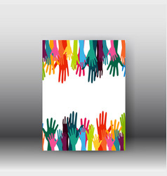 hands design poster and brochure vector image