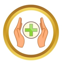 Hands holding cross icon vector