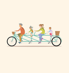 Happy family cycling tandem bicycle isolated on vector