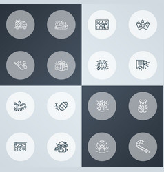 happy icons line style set with candy cane paper vector image