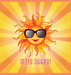 Hello summer background holidays cover sun beams vector