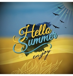 Hello Summer blurred background vector image