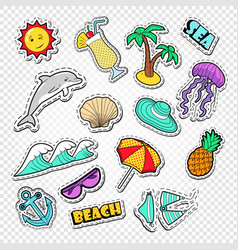 Hello summer doodle beach vacation stickers vector