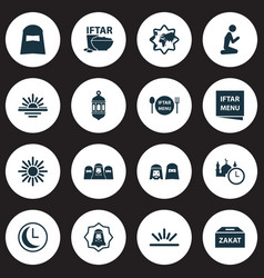 holiday icons set with fajr people time and vector image