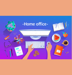 Home office top view vector