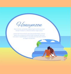 honeymoon web poster with couple looking seaview vector image