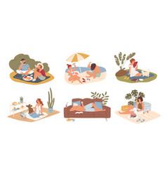hot summer outdoor and indoor recreation flat vector image