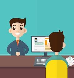 Interview a businessman Employment recruitment vector