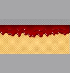 Jam melted on wafer background cherry jam flow vector