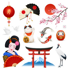japan realistic symbols set vector image
